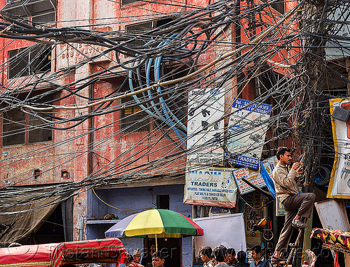 tangled electric wiring in street (india), delhi, electric, electricity, high voltage, infrastructure, power lines, street, tangled, wires, wiring