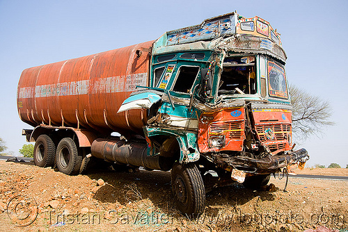 tanker truck accident (india), cabin, crushed, frontal collision, fuel tanker, fuel truck, head-on collision, india, lorry, road crash, rollover, tank truck, tanker truck, tata motors, traffic accident, traffic crash, truck accident, wreck