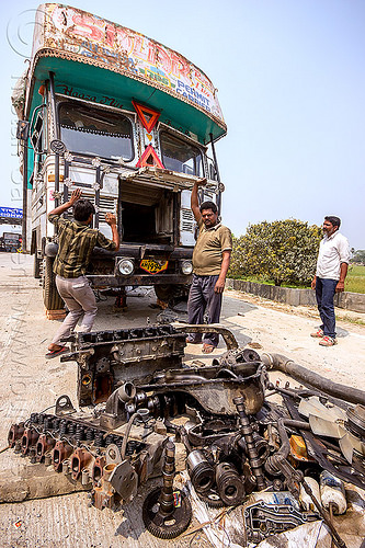 TATA truck with disassembled engine (india), disassembled, engine, fixing, lorry, mechanic, men, motor, parts, repairing, road, tata motors, truck drivers, truckers