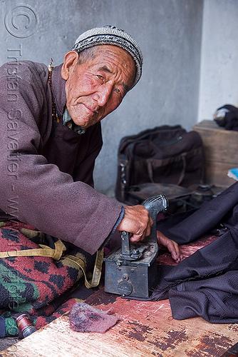 taylor ironing - leh - ladakh (india), man, people