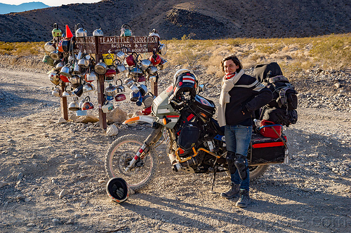 teakettle junction - death valley, death valley, klr 650, motorcycle, teakettle junction, woman