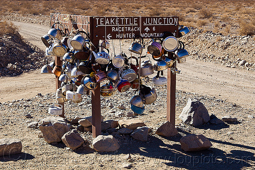 teakettle junction (death valley), death valley, desert, dirt road, racetrack playa, road sign, teakettle junction, teakettles, traffic sign, unpaved