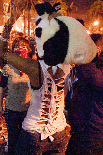 teenage girl at pillow fight, black woman, night, panda hat, teen, teenager, world pillow fight day