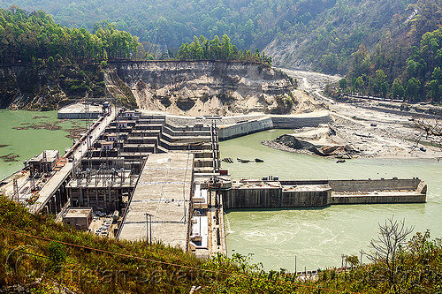 teesta low dam hydro electric project stage IV - west bengal (india), construction, infrastructure, nhpc, river, teesta river, tista, valley, water