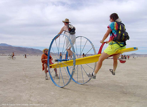 teeter totter on wheels - burning-man 2004, art, burning man, people