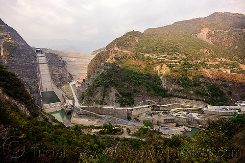 tehri dam - tehri hydro power project (india), bhagirathi river, bhagirathi valley, hydro electric, india, overflow spillway, tehri dam