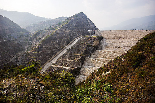 tehri dam (india), bhagirathi valley, hydro electric, infrastructure, overflow spillway, tehri dam