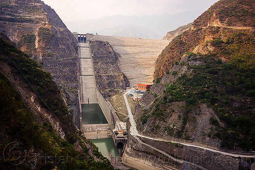 tehri dam (india), bhagirathi river, bhagirathi valley, hydro electric, infrastructure, overflow spillway, tehri dam, water