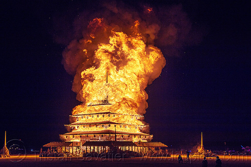 the temple ablaze - burning man 2016, burning man, fire, night