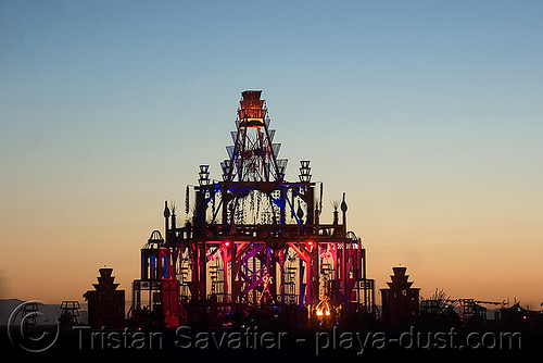 temple at dawn - burning man 2008, basura sagrada, burning man, dawn, temple