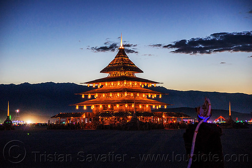 the temple at dusk - burning man 2016, burning man, dusk, temple