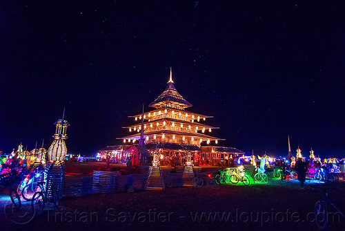 the temple at night - glowing bicycles - burning man 2016, bicycles, burning man, glowing, night, temple