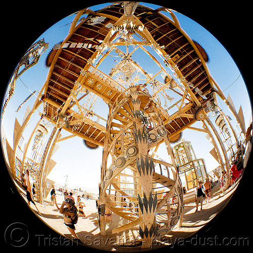 the temple - basura sagrada - burning man 2008, basura sagrada, burning man, circular fisheye lens, circular stairs, double-helix, spiral stairs, stairwell, temple