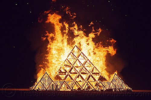 the temple burn - burning man 2013, burning man, fire, night, temple of whollyness, wooden pyramid
