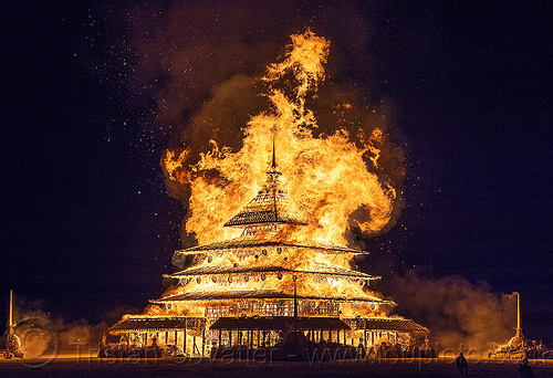 the temple burning - burning man 2016, burning man, fire, night