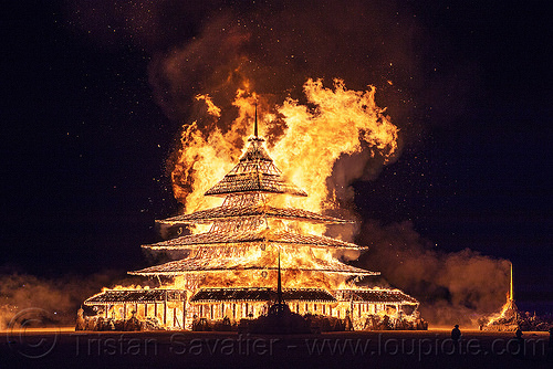the temple burns - burning man 2016, burning man, fire, night