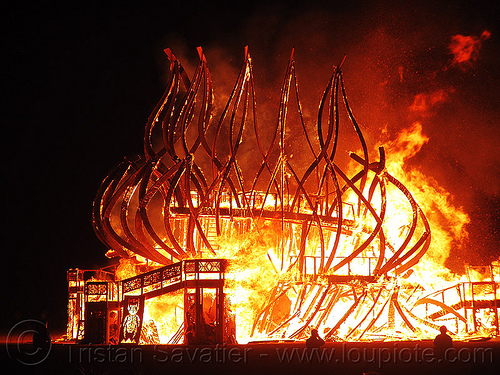 temple collapsing in fire - burning man 2009, burning man, fire of fires, night