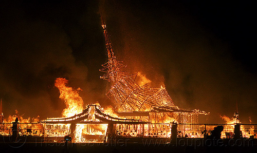 temple collapsing in fire - burning man 2012, burning man, collapsing, fire, night
