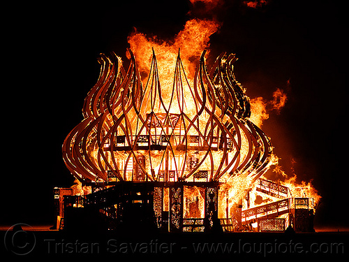 the temple is burning - burning man 2009, burn, burning, fire of fires, flames, night, temple