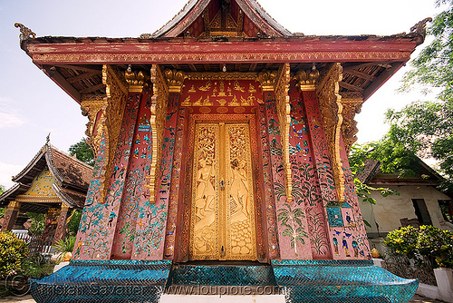 temple - luang prabang (laos), architecture, buddhism, buddhist temple, building, closed, doors, exterior, golden, luang prabang