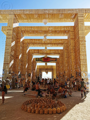 temple of direction - burning man 2019, art installation, burning man, crowd, temple of direction