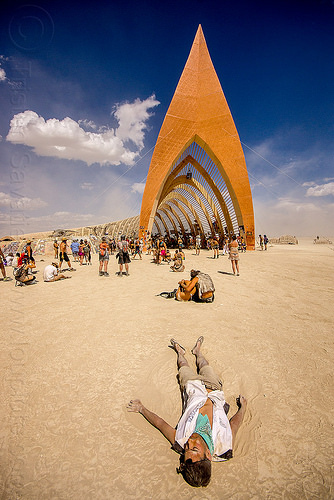 temple of promise - burning man 2015, arch, architecture, lying, lying down, people, vault