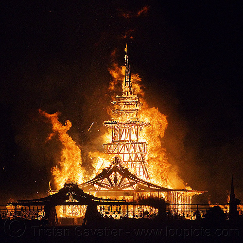 temple on fire - burning man 2012, burning man, fire, flames, night, temple
