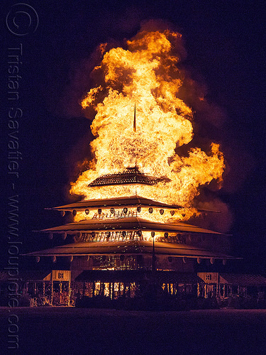 the temple on fire - burning man 2016, burn, burning man, fire, flame, frame, night, temple