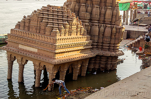 temple sinking - ghats of varanasi (india), foundation, ganga river, ganges river, ghats, hindu, hinduism, man, sinking, temple, varanasi, water