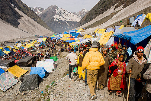 tent village near the cave - amarnath yatra (pilgrimage) - kashmir, mountains, pilgrims, snow, trekking, yatris, अमरनाथ गुफा