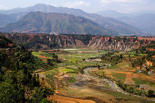 terrace farming landscape (nepal), agriculture, mountains, paddy fields, rice fields, river, terrace farming, terrace fields, valley