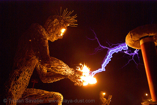 tesla coil and neela - burning man 2007, burning man, crude awakening, dan das mann, electric arc, electric discharge, fire, flames, high voltage, lightnings, night, plasma filaments, sculpture, static electricity, tesla coil