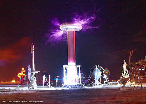 tesla coil - burning-man 2004, art, electric arc, electric discharge, electricity, high voltage, lightnings, night, plasma filaments, tesla coil, therm