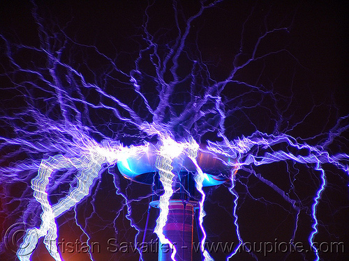 tesla coil, danger, dr megavolt, electric arc, electric discharge, fire art, fire arts festival, high voltage, lightnings, long exposure, plasma filaments, static electricity, tesla coil, the crucible