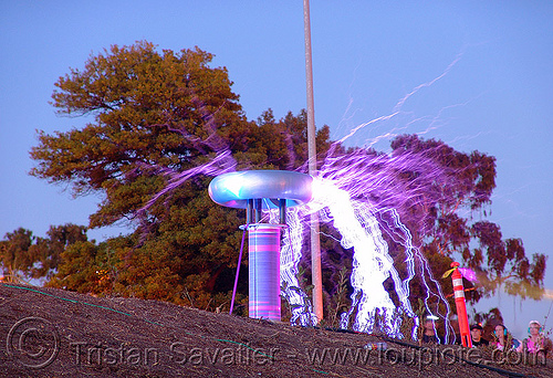 tesla coil - fire arts festival at the crucible (oakland), danger, dr megavolt, electric arc, electric discharge, fire art, high voltage, lightnings, plasma filaments, static electricity, tesla coil