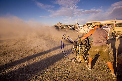 testing the paramotor - burning man 2015, blowing, brad gunnuscio, man, paramotor, paramotoring, powered paraglider, powered paragliding, propeller