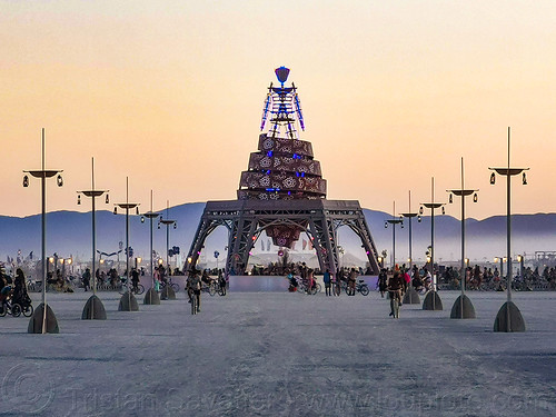 the man at dawn - burning man 2019, burning man, dawn, the man