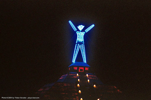 the man at night - burning-man 2003, art, burning man, neon light, night, pyramid, the man