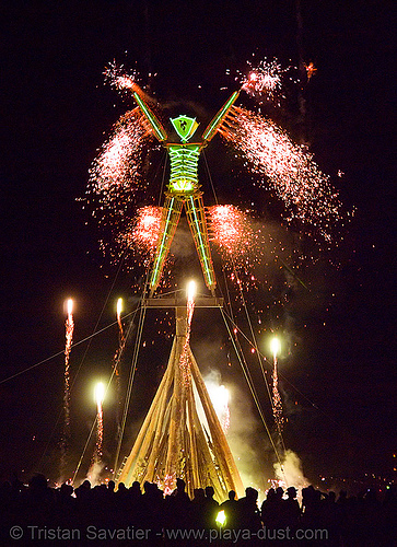 the man burns - burning man 2007, burning man, fire, fireworks, night of the burn, phenix, phoenix, pyrotechnics, the man