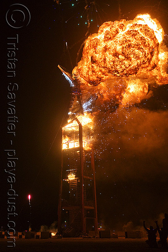the man burns - burning man 2008, burning man, fire, flames, night, the burn, the man
