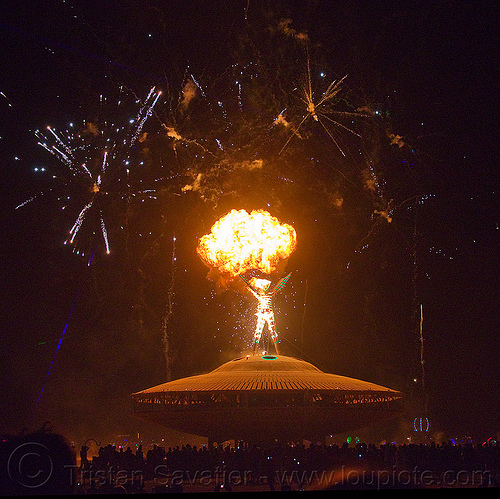 the man is set ablaze by a pyrotechnic explosion - burning man 2013, burning man, explosion, fire, fireworks, flames, night, pyrotechnics, the man