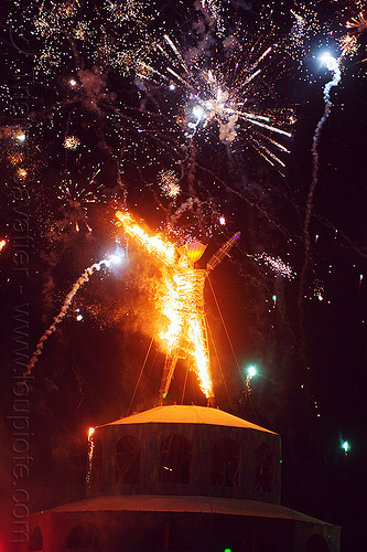the man on fire - burning man 2012, fireworks, flames, night, pyrotechnics