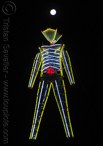 the man under the full moon - burning man 2009, burning man, full moon, neon, night, the man, yellow