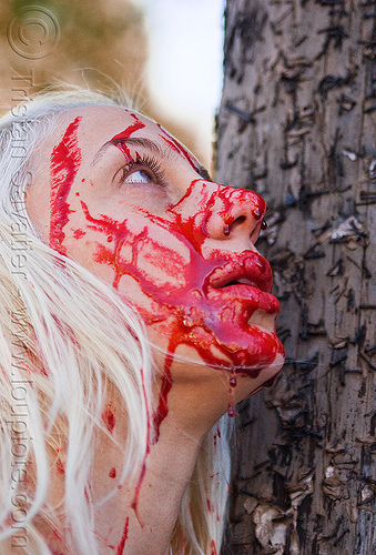 theatrical blood, bleeding, blonde, bloody, fake blood, halloween, lusha, makeup, red, special effects, stage blood, theatrical blood, woman, zombie