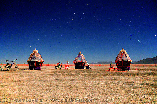 "this installation is called ""eggs"" - burning man 2007, art installation, burning man, eggs, felonius asparagus, huts, long exposure, night, orion, stars, the hunter"