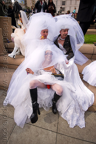 three brides - brides of march (san francisco), bride, brides of march, male underwear, wedding dress, white