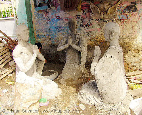 three buddha statues - statue factory - vietnam, buddha image, buddha statue, buddhism, clay, concrete, cross-legged, nha trang, people, sculptures