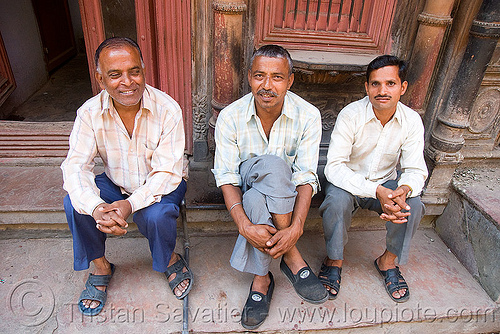 three men - delhi (india), people, sitting, street