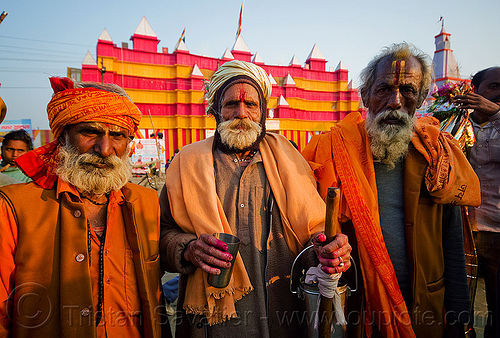 three old hindu pilgrims - kumbh mela 2013 (india), ashram, hindu, hinduism, kumbha mela, maha kumbh mela, old men, pilgrims, three, tilak, tilaka, white beard, yatri