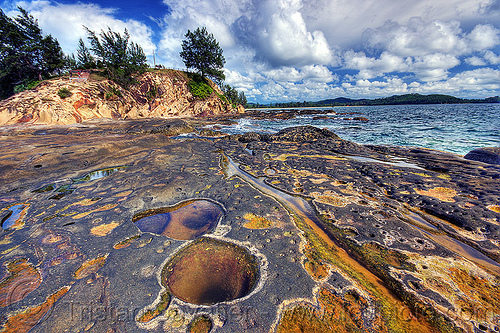 tide pools, cape, clouds, eroded, ocean, rock, rocky, sandstone, sea, seashore, shore, stone, tanjung simpang mengayau, tide pools, tip of borneo, trees